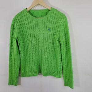 Ralph Lauren Neon Green Chunky Cable Knit Sweater